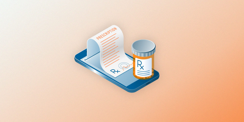 graphic of a prescription bottle and paper